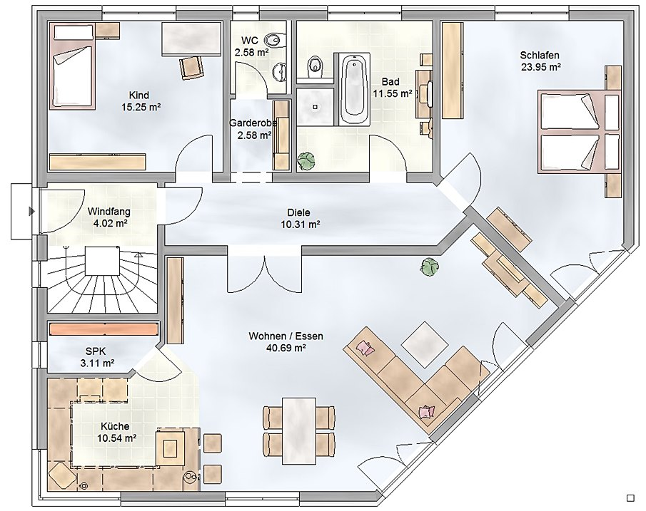 Grundriss winkelbungalow haus design und m bel ideen for Bungalow grundrisse 3d
